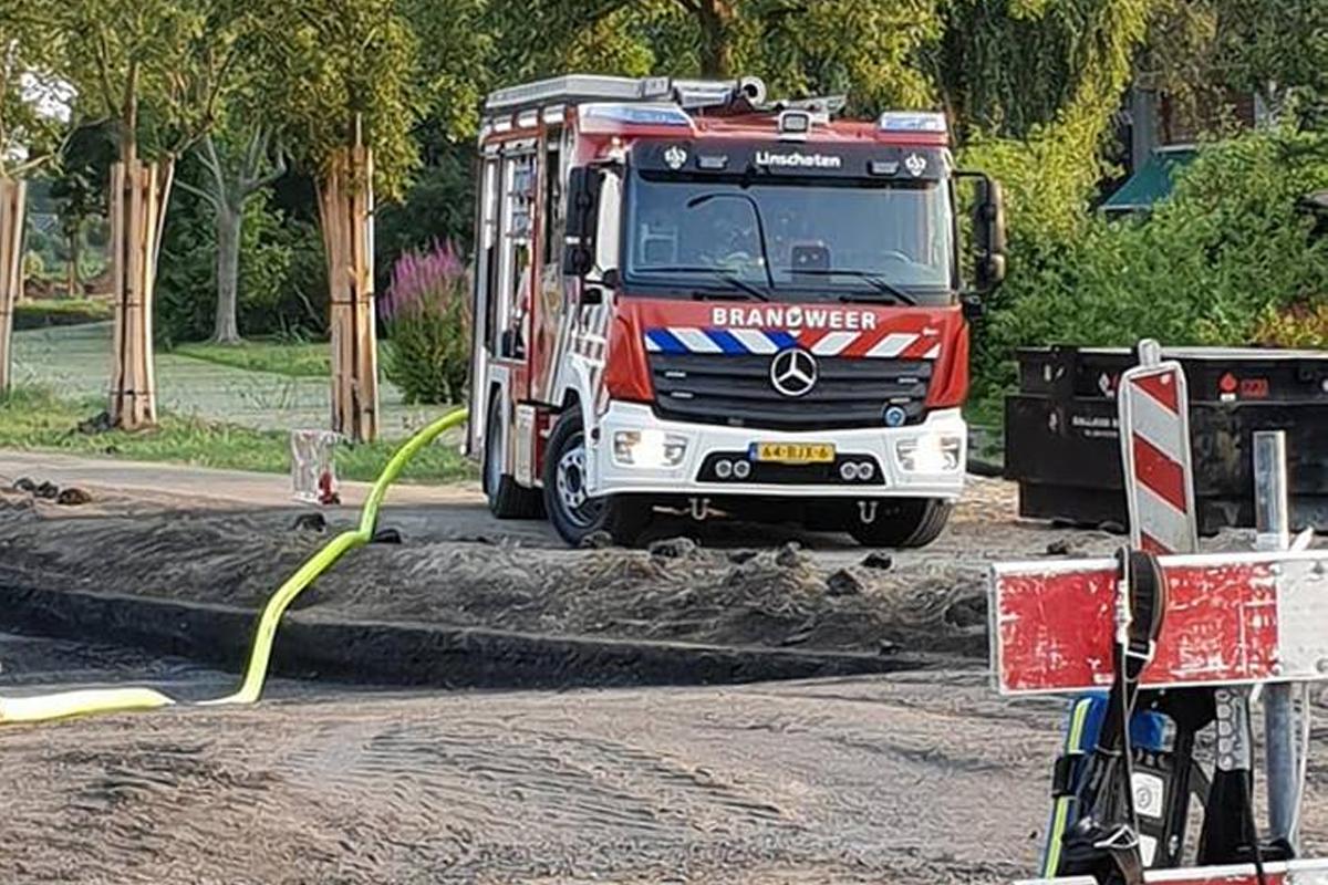 Groot gaslek door graafwerkzaamheden in Linschoten