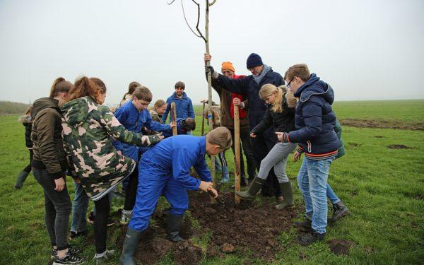 Leerlingen planten bomen in Oudewater